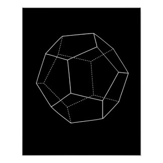 Black Dodecahedron Poster