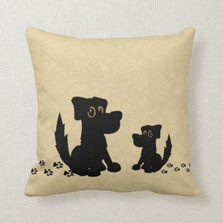 Black Dog and Puppy Walk Leather Look Throw Pillow