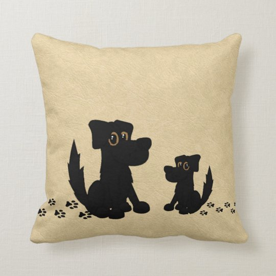 Black Dog and Puppy Walk Leather Look Throw