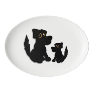 Black Dog Family Porcelain Serving Platter