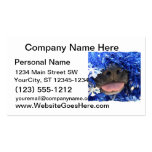Black Dog Nose with Blue Tinsel Tongue Out Business Card Template