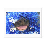 Black Dog Nose with Blue Tinsel Tongue Out Stretched Canvas Print