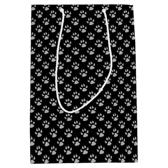 Black Dog Paw Print Gift Bag