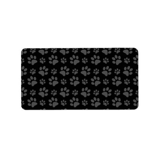 Black dog paw print pattern address label