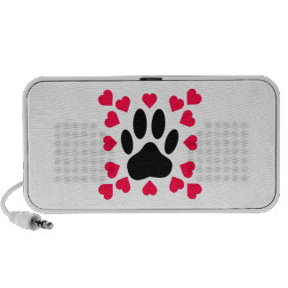 Black Dog Paw Print With Heart Shapes iPhone Speaker