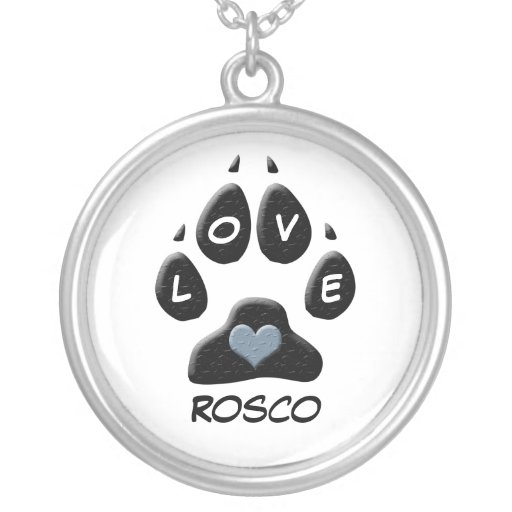 Black Dog Paw with Blue Heart Custom Round Pendant Necklace