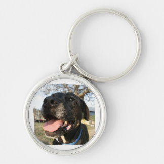 Black Dog Pink Tongue Smiling In Camera Keychain