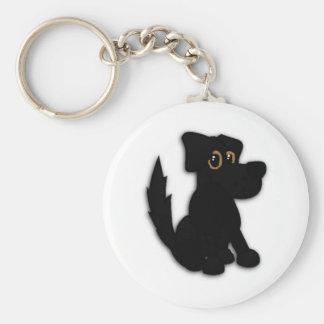 Black Dog Pooch Keychain