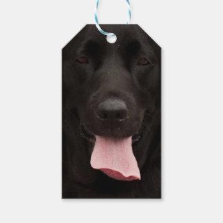 Black dog portrait gift tags
