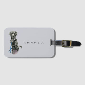 Black Dog Watercolor Painting Luggage Tag