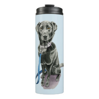 Black Dog Watercolor Painting Thermal Tumbler