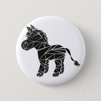 Black donkey 6 cm round badge
