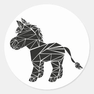 Black donkey classic round sticker