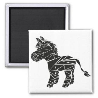 Black donkey square magnet