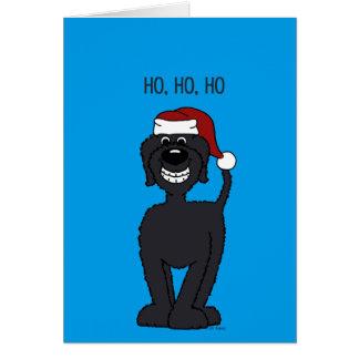 Black Doodle Santa Card