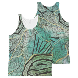 Black Doodled Leaves on Teal and Gold Tank Top
