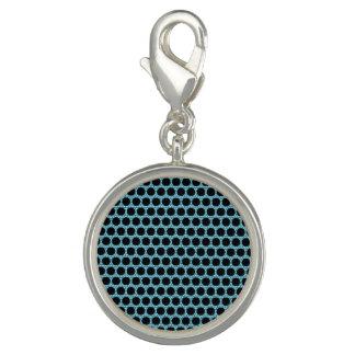 Black Dot Blue Round Charm