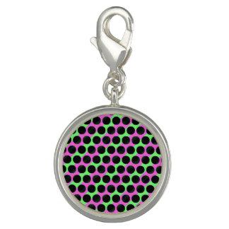 Black Dot Pink Green Round Charm
