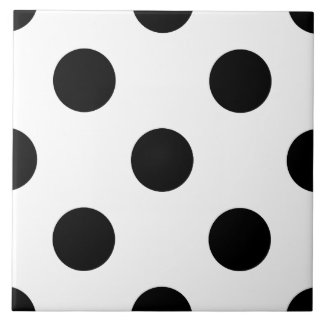 BLACK DOTS! (a polka dot design) ~ Large Square Tile