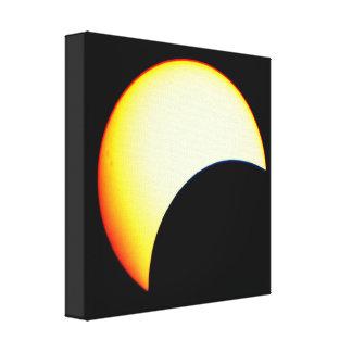 Black Dots Over The Sun   Partial Eclipse Canvas Print