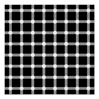 Black Dots White Line Grid Square Optical Illusion Poster