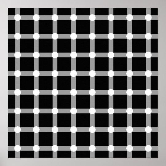 Black Dots White Line Grid Square Optical Illusion
