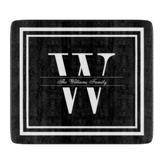 Black Double Border Monogram Cutting Board