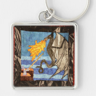 Black Dragon and Mage Quilted Dragons series Key Chains