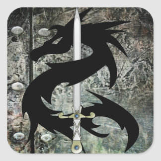 Black Dragon and Sword Stickers