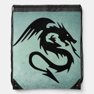 Black dragon drawstring bag