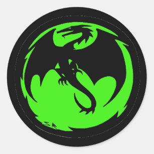 Black Dragon Green small round stickers