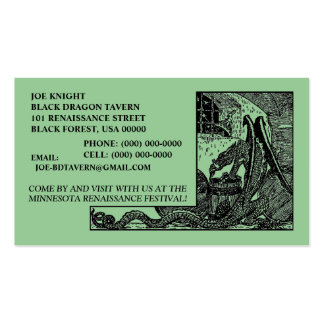 BLACK DRAGON IN DUNGEON CONTACT/BUSINESS CARDS! PACK OF STANDARD BUSINESS CARDS