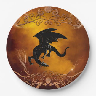 Black dragon in the sky paper plate