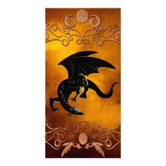 Black dragon in the sky customized photo card