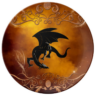 Black dragon in the sky plate