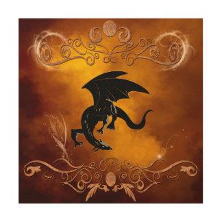 Black dragon in the sky wood print