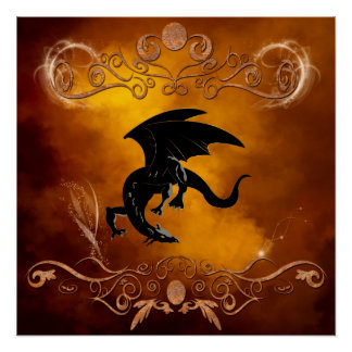 Black dragon in the sky perfect poster