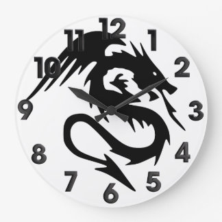 Black dragon large clock