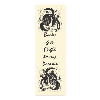 Black Dragon Mini Book Mark Business Card Templates