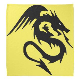 Black dragon on yellow background bandana
