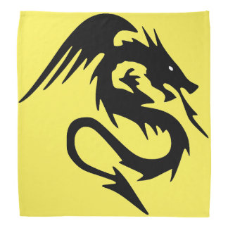 Black dragon on yellow background do-rag
