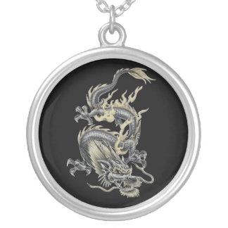 black dragon round pendant necklace