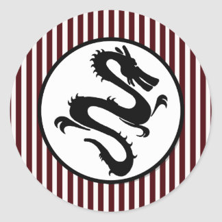 Black Dragon Silhouette on Red Stripes Round Sticker