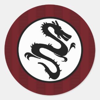 Black Dragon Silhouette on Red Stripes Round Sticker