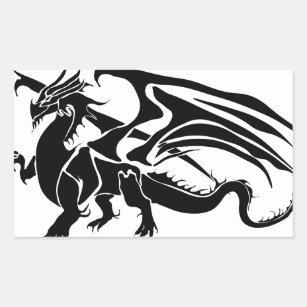 Black Dragon Silhouette Rectangular Sticker