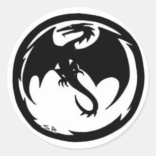 Black Dragon small round stickers