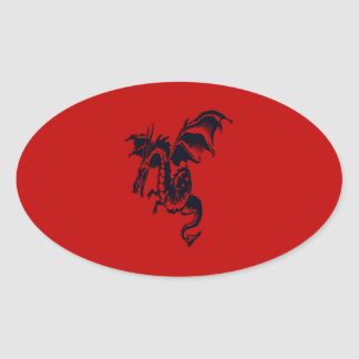 Black Dragon Oval Stickers