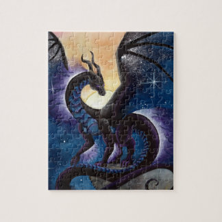 Black Dragon with Night Sky by Carla Morrow Puzzles