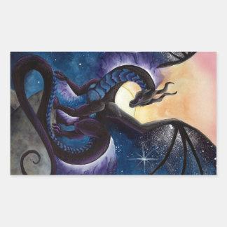 Black Dragon with Night Sky by Carla Morrow Rectangular Sticker