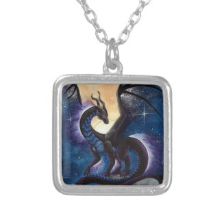 Black Dragon with Night Sky by Carla Morrow Silver Plated Necklace